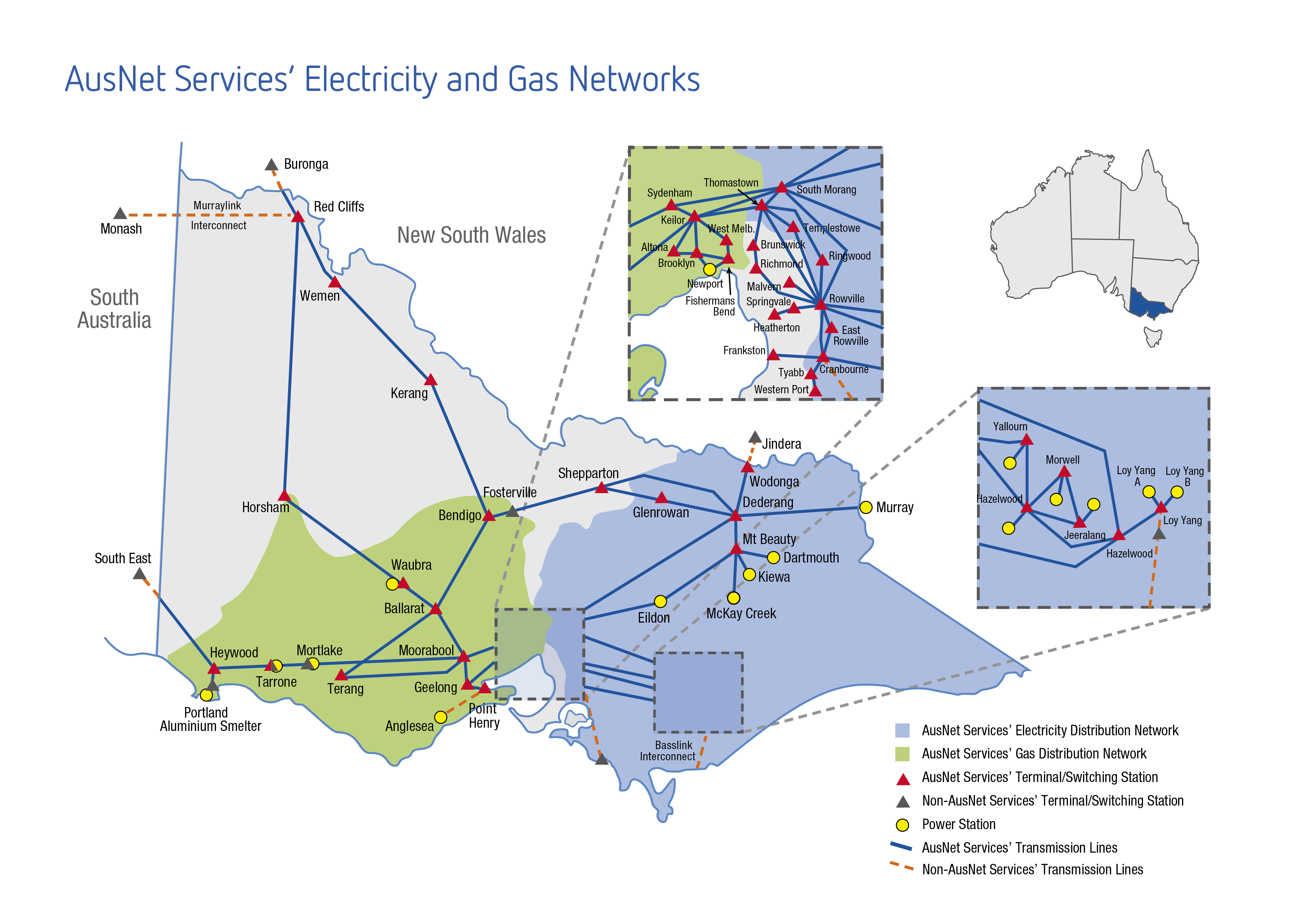 AusNet Services Electricity and Gas network map